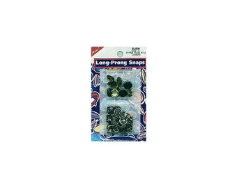 Black Long Prong Snaps, SnapSetter compatible, Size 16 snaps, Capped Long-Prong Snaps, 10/Pkg, Black Caps,