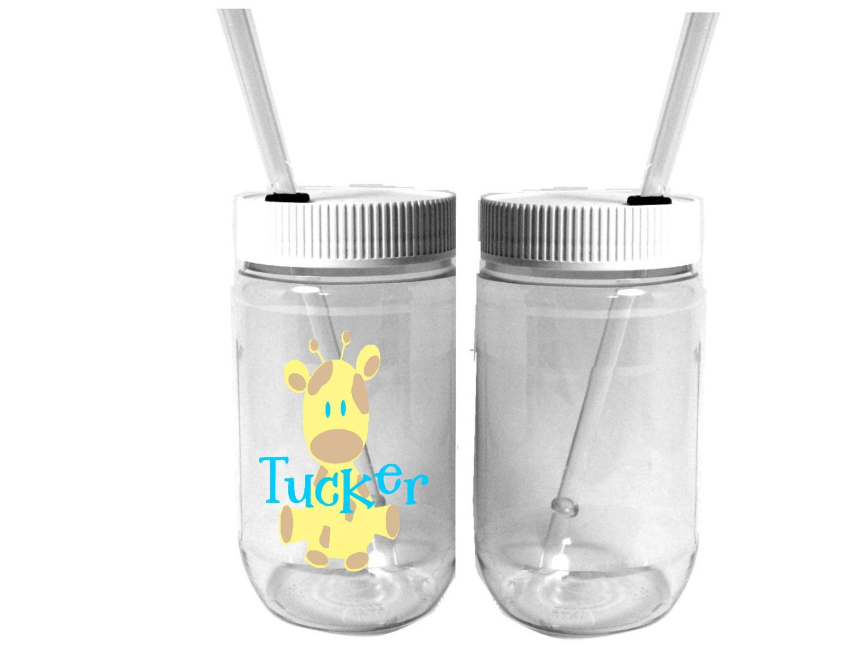 Personalized plastic mason jar baby giraffe by for Custom cosmetic jars