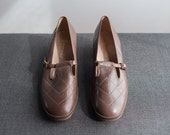 Vintage Deadstock Taupe Leather Buckled Low Heel Mary Jane Shoes Size 9