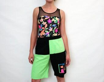 Vintage Neon Colorblock 80s Unisex Long Bathing Shorts