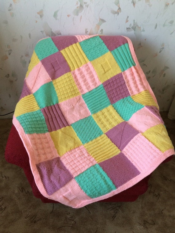 Hand Knitted Squares Afghan...Colorful Knitting by GalyaKireva