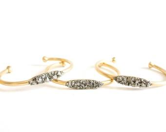 Small Pyrite Cuff - Pyrite Crystal Cuff Stacking Bracelet - Raw Stone Cuff