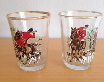 Vintage 1960's Hunting Tot/shot glasses