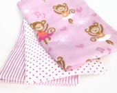 Burp Cloths / Set of 3 Double thickness flannel - Pink Ballerina Monkeys, stripes and polka dots
