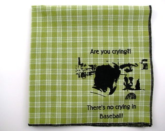 Hankie- League of their own shown on super soft LIME GREEN plaid cotton hanky-or choose from white or solid colors or plaids shown in pics
