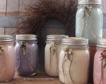 CUSTOM order for Liz - 3 - 16 oz decorated mason jar candles 100% soy candles