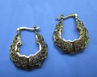 Sterling Silver Gold Plated Filigree Earrings