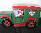 Santa's North Pole Delivery  Christmas Truck Tin with turning wheels