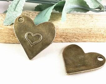 5pcs Antique Bronze Large Heart Charm Pendants 33x36mm G303-4