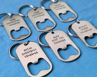 Set of Groomsmen Gifts - Personalized Key Chain Bottle Openers - Any Quantity - for groomsmen, best man, usher, weddings