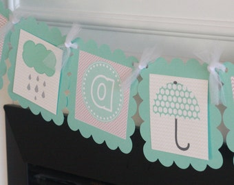 """Aqua Blue & Taupe Baby Sprinkle Shower Umbrella Boy Baby Shower - """"Its a Boy"""" or """"Little Man"""" Baby Shower Banner - Party Pack Specials"""