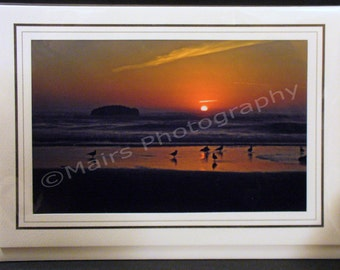 Landscape Photography Oregon Sunset Beach Surf Birds Sand Orange, Birthday Card, Eco-Friendly, All Occasion, Blank Greeting Card, Photo Card
