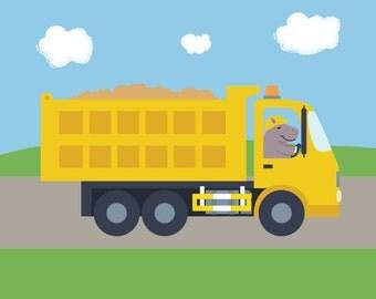 Dump Truck Nursery Art - Hippo in a Tipper - Construction Decor