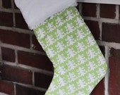 READY TO SHIP Matching Lime Green Nordic Tree Stocking Christmas Stockings no.201