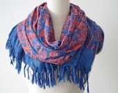 Large fringe scarf, blue and red extra long shawl. Cotton floral sarong or pareo beach wrap. Hand painted batik swim suit cover up, spa wrap