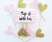 Party Toppers, 6 pink and gold toppers, pink and gold party, pink and gold cupcake toppers, pink and gold decor, spring trends