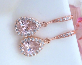 Bridal Earring - Rose Gold Light Pink Peardrop Cubic Zirconia with ROSE GOLD Plated CZ Earrings