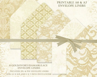 50% off:DIY Envelope Liners, Gold and Ivory Lace Envelope Liners, A6 Envelope Liner, A7 Liner, pdf and jpg Digital Envelop Liners, #15192
