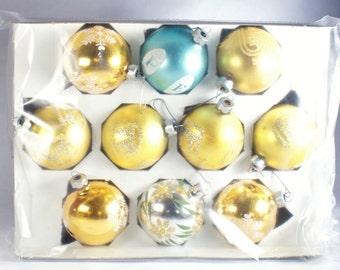 Glass Christmas Vintage Bulbs Ornaments Stenciled Bulb Ornament Tree Lot Shiny Brite Blown Vtg