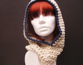 Natural White Hooded Cowl with Dark Blue Trim
