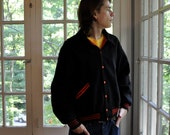 Wool Varsity Jacket/Vintage 1960s/Fitt Bro Letterman Jacket/Black Wool With Red Lettering Lawrenceville/Size Large