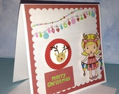 Merry Christmas with Sunny Christmas Marci OOAK Handmade Christmas Card