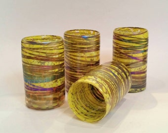 Iridescent Bright Yellow Hand Blown Glass Tumbler (one)