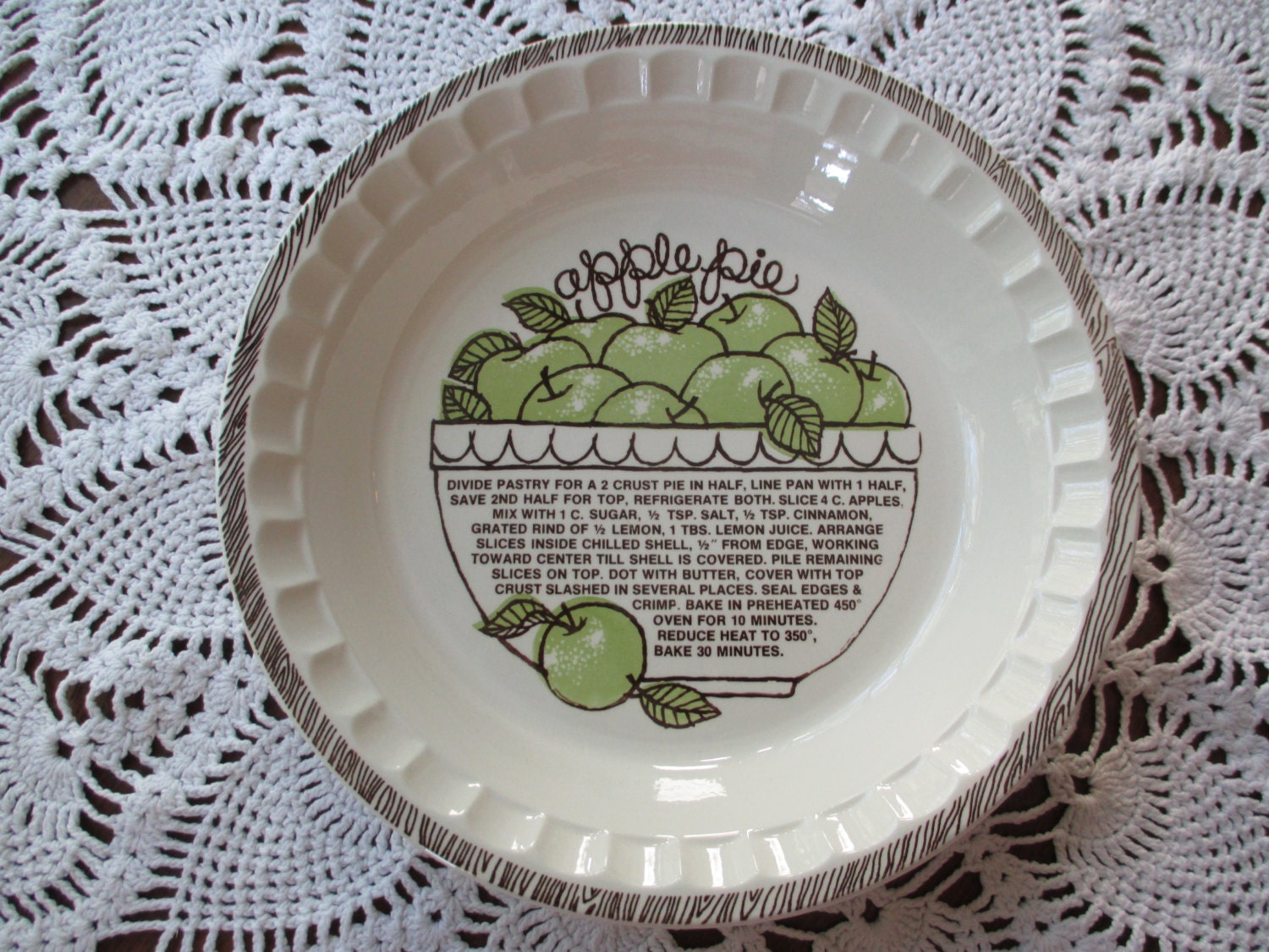 Vintage Ironstone Deep Dish Ceramic Recipe Pie Plate Apple