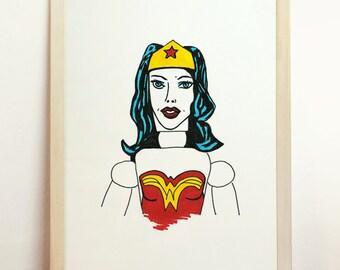 Wonder Woman Art Giclee - Print Wall Illustration - A4 - 8.3 x 11.7 in - 210 x 297 mm - Prints Shop
