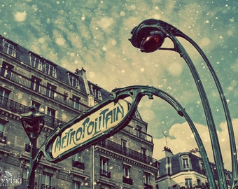 Paris Metro Photo, Snow, Metropolitain Sign, Art Nouveau, Architecture, French, Paris Print, Winter Decor, Urban, Montmartre, Subway, Wall