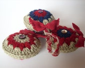 Handmade crocheted country Christmas ornament set of 3 country colours