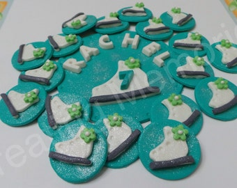 FONDANT ICE SKATE Cake Set - Fondant Ice Skate set with name and age. One large topper and twelve fondant cupcake toppers - birthdays, cakes
