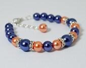 Pearl Bracelet, Navy and Coral Bracelet Set, Navy Jewelry, Pearl Bracelet, Navy and Coral Wedding, Bridesmaid Jewelry, Bracelet and Earrings
