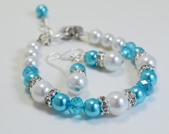 Turquoise Pearl Bracelet and Earrings,Turquoise and White Jewelry, Bridal Jewelry, Bridesmaid Jewelry, Turquoise and White Wedding Combo
