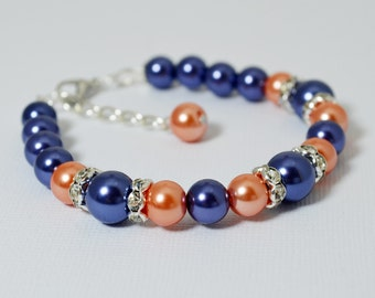 Pearl Bracelet, Navy and Coral Bracelet Set, Navy Jewelry, Pearl Bracelet, Navy and Coral Wedding, Bridesmaid Jewelry, Bracelet and Earrings