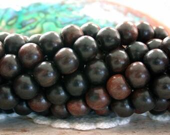 8mm Kamagong Wood Beads, Tiger Kamagong Wood Beads, Natural Wood Beads, Undyed Wood Beads, Macrame Beads  NAT-161