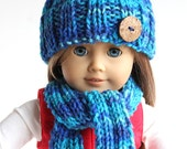 American Girl Doll Hand Knitted Blue Winter Accessories Hat Scarf Leg Warmers
