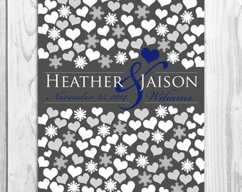 Wedding Guestbook | BRIDAL GIFT POSTER | Interactive Art Print Snowflakes Hearts| 115 Guest Sign In 20x24 | Unique Wedding Guest Book_06