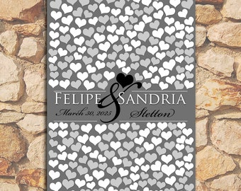 EXTRA LARGE Black Gray Wedding Guestbook Signature Poster Bridal Hearts Custom Personalized Wedding Gift Brides Grooms 263 Guest 20x30_01