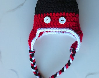 READY TO SHIP Newborn Mickey Mouse Earflap Hat and Braids Mickey Mouse Hat