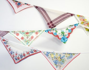 Hanging Banner - Fall Party Vintage Decoration - Vintage Hankie Bunting - Vintage Handkerchief - Brown, Rust and Blue Colors - Ready to Ship