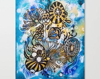 "Blue and Yellow 8"" x 10"" original acrylic painting. Undersea floral arrangement, ""Wonder"""