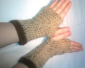Fingerless Mittens in Oatmeal Fleck with Brown band