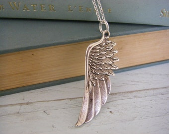 Silver Angel Wing Necklace Sterling Silver Chain protection guardian angel