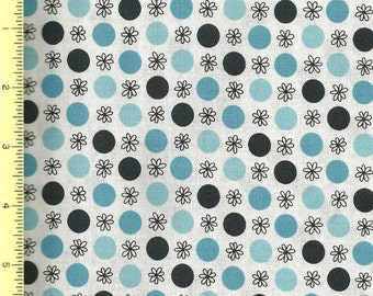 Flea Market Fancy Turquoise Blue Flower Dot by Denyse Schmidt Fabric - 1/2 yard