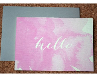 Watercolor Stationery Note Card Set - Silhouette Calligraphy Hello Note Set - Watercolor and Typography Note Cards