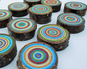 Painted Tree Rings, Retro Art, Abstract Art, Painted Wood Slice, Reclaimed Wood, Rustic, Nursery Decor, Wall Decor, Sustainable, Eco, Nature