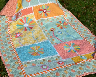 Handmade Applique Quilt  Colorful Dresden Plate Lay Away Available Cottage Chic Hippie Patchwork Primary Colors Rick Rack Blanket Twin Quilt