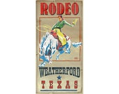 Weatherford Texas- Rodeo Poster, Western themed Travel Posters in various sizes, Kids room decor and design, Name Drop Posters