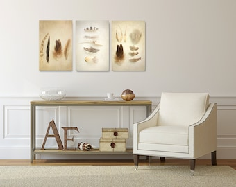 Feather Canvas Art Set, Vertical Feather Photography Canvas Set, Brown Wall Decor, Rustic Home Decor, Feather Wall Art, Three Picture Set